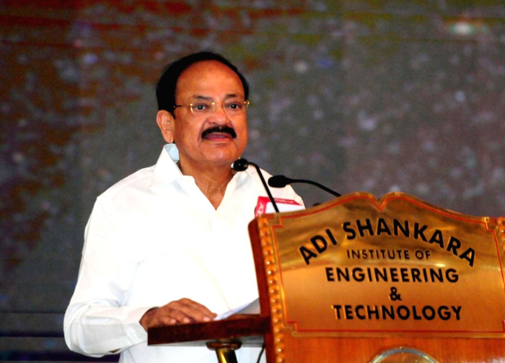 Vice President M. Venkaiah Naidu addresses during the Adi Shankara Young Scientist Awards 2018, at Adi Shankara Institute of Engineering and Technology in Kochi, Kerala on May 21, 2018. - M. Venkaiah Naidu
