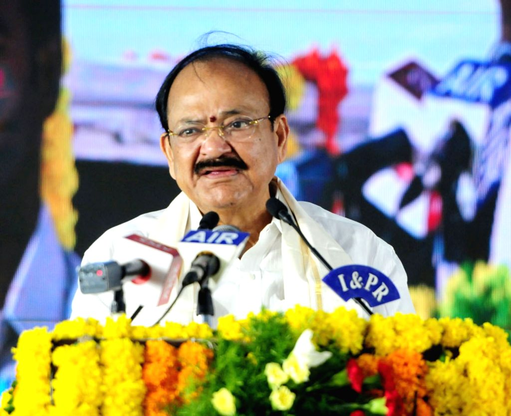 Vice President M. Venkaiah Naidu addresses during a programme to lay the foundation stone for National Institute of Disaster Management, in Kondapavuluru, Andhra Pradesh on May 22, ... - M. Venkaiah Naidu