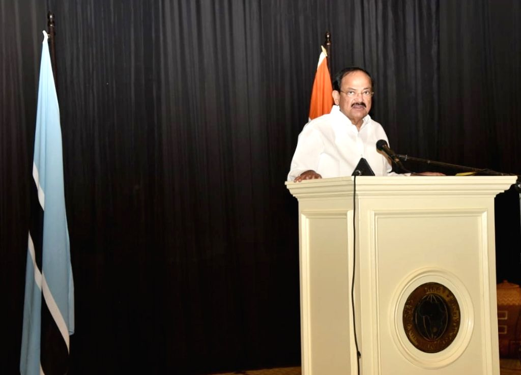 Vice President M. Venkaiah Naidu addresses during the luncheon hosted by the Vice President and the Acting President of Botswana Slumber Tsogwane, at the Gaborone International Convention ... - M. Venkaiah Naidu