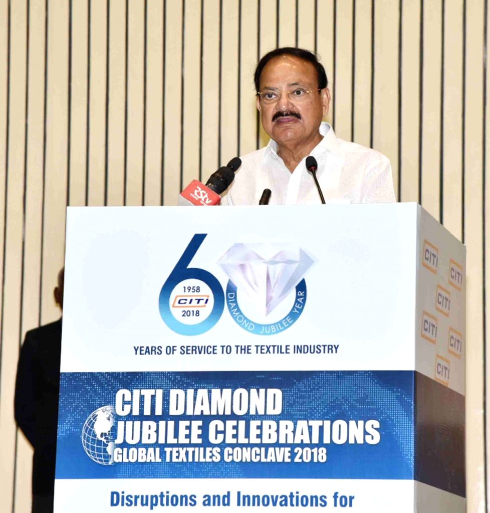 Vice President M. Venkaiah Naidu addresses during CITI Global Textiles Conclave 2018, organised to commemorate CITI Diamond Jubilee celebrations in New Delhi, on Nov 27, 2018. - M. Venkaiah Naidu