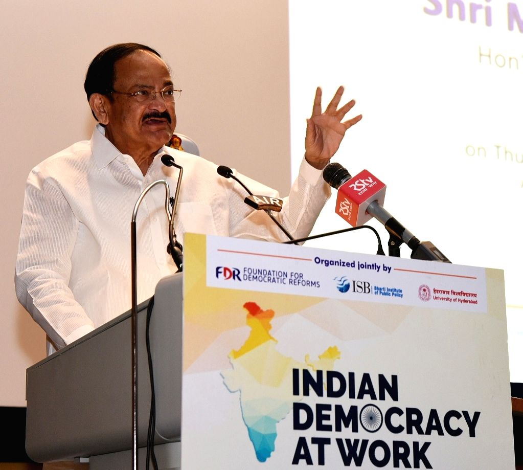 Vice President M. Venkaiah Naidu addresses during the first annual conference on ???Indian Democracy at Work???, organised by the Foundation for Democratic Reforms, Bharat Institute of ... - M. Venkaiah Naidu