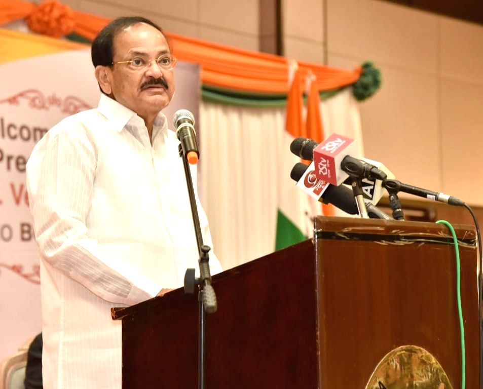 Vice President M. Venkaiah Naidu addresses the Indian Community Reception, organised by Indian High Commissioner to Botswana, Rajesh Ranjan at Baisago Convocation Centre in Gaborone, ... - M. Venkaiah Naidu