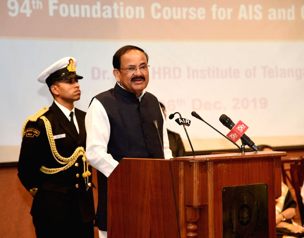 Vice President M Venkaiah Naidu addresses the Valedictory Function of the 94th Foundation Course of All India Services and Central Civil Services, at Dr. Marri Channa Reddy HRD Institute, ... - M Venkaiah Naidu and Channa Reddy H