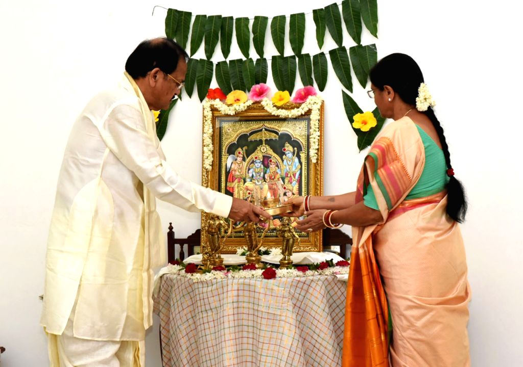 Vice President M. Venkaiah Naidu along with his spouse Usha Naidu, performs puja at his residence in New Delhi on the occasion of 'Bhoomi Pujan' of Ram Mandir in Ayodhya, on Aug 5, 2020. - M. Venkaiah Naidu and Usha Naidu