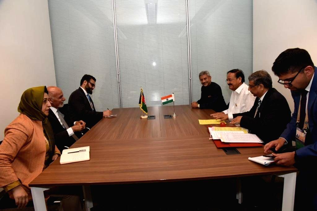 Vice President M. Venkaiah Naidu and External Affairs Minister S. Jaishankar meet Afghan President Mohammad Ashraf Ghani on the sidelines of NAM Summit 2019 in Baku, Azerbaijan on Oct 25, 2019. - S. Jaishankar and M. Venkaiah Naidu