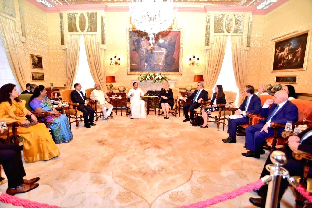 Vice President M. Venkaiah Naidu and Malta President Marie-Louise Coleiro Preca during delegation level talks between the two countries, in Malta, on Sept 17, 2018. - M. Venkaiah Naidu