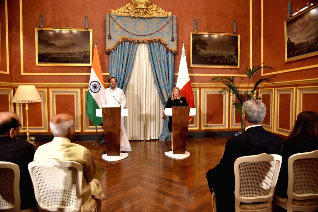 Vice President M. Venkaiah Naidu and Malta President Marie-Louise issue joint Press Statement at San Anton Palace, in Attard, Malta, on Sept 17, 2018. - M. Venkaiah Naidu
