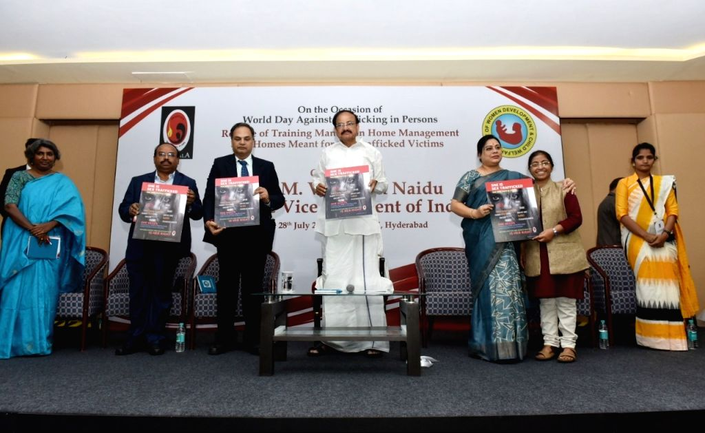Vice President M. Venkaiah Naidu and MoS Women and Child Development Debasree Chaudhuri jointly releasing the poster on the occasion of World Day Against Trafficking in Persons, in ... - M. Venkaiah Naidu