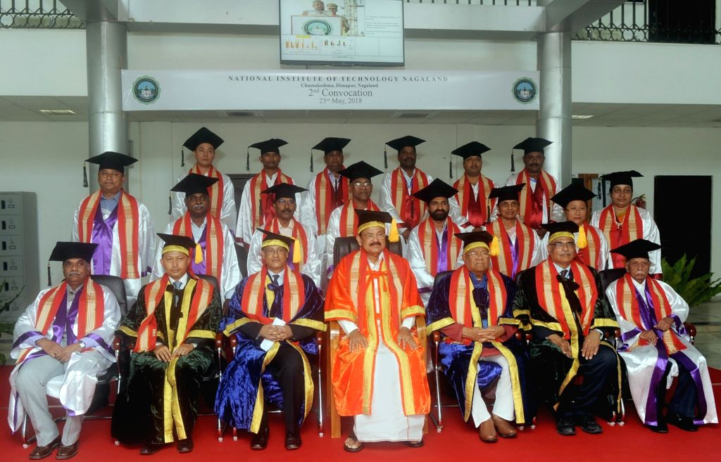 Vice President M. Venkaiah Naidu and Nagaland Governor P.B. Acharya with the faculty members of National Institute of Technology at its 2nd Convocation, in Chumukedima of Nagaland's ... - M. Venkaiah Naidu
