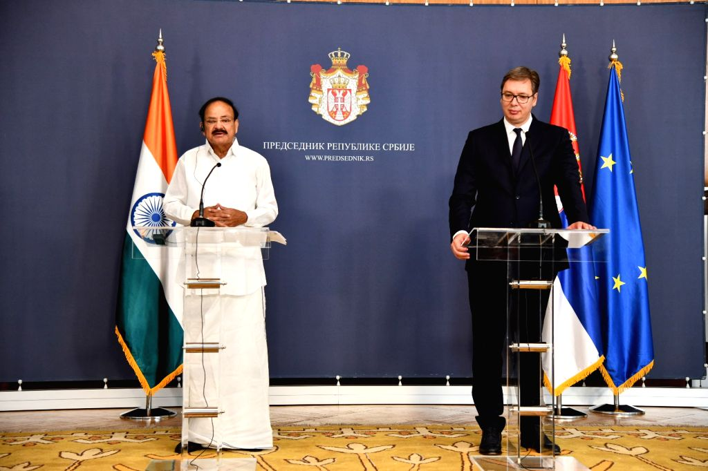 Vice President M. Venkaiah Naidu and Serbian President Aleksandar Vucic at the Joint Press Statement in Belgrade, Serbia on Sept 15, 2018. - M. Venkaiah Naidu