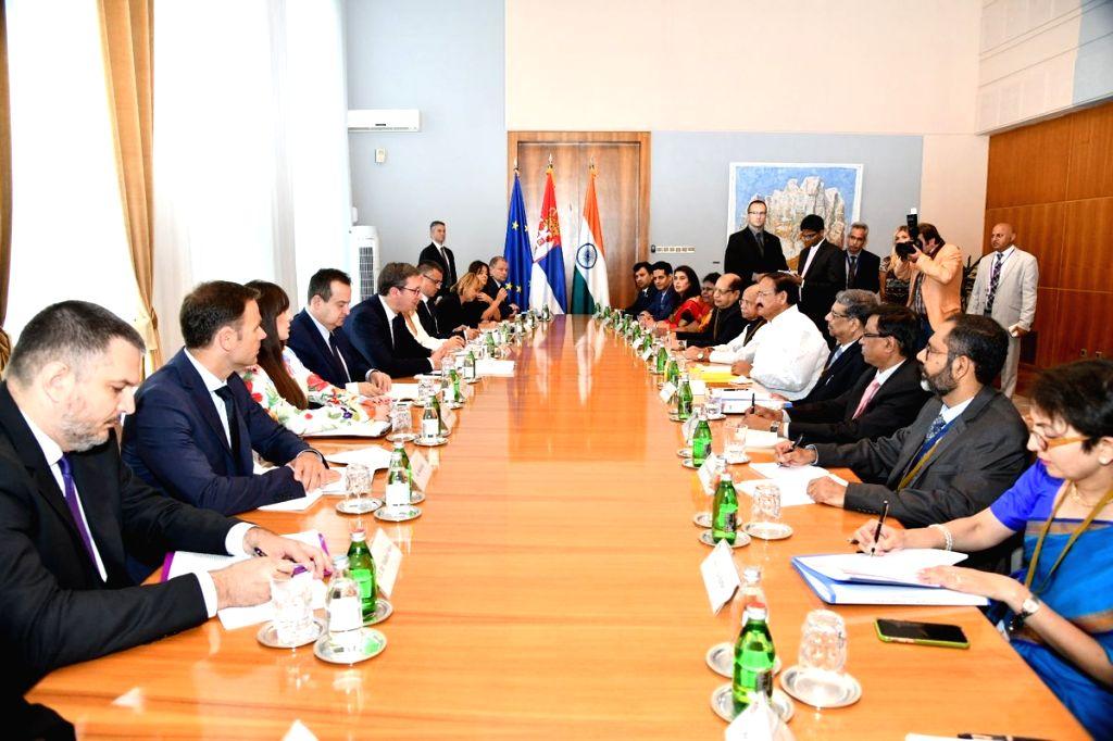 Vice President M. Venkaiah Naidu and Serbian President Aleksandar Vucic during delegation level talks in Belgrade, Serbia on Sept 15, 2018. - M. Venkaiah Naidu