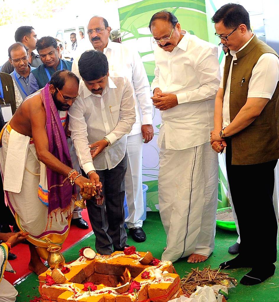 Vice President M. Venkaiah Naidu and Union MoS Home Affairs Kiren Rijiju lay the foundation stone for National Institute of Disaster Management in Kondapavuluru, Andhra Pradesh on May ... - M. Venkaiah Naidu