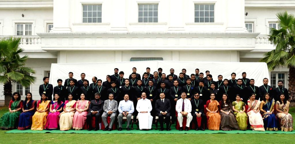 Vice President M. Venkaiah Naidu and Union MoS PMO Jitendra Singh with a group of the IAS Officers of 2016 batch posted as Assistant Secretaries in Government of India at Civil Services ... - M. Venkaiah Naidu and Jitendra Singh