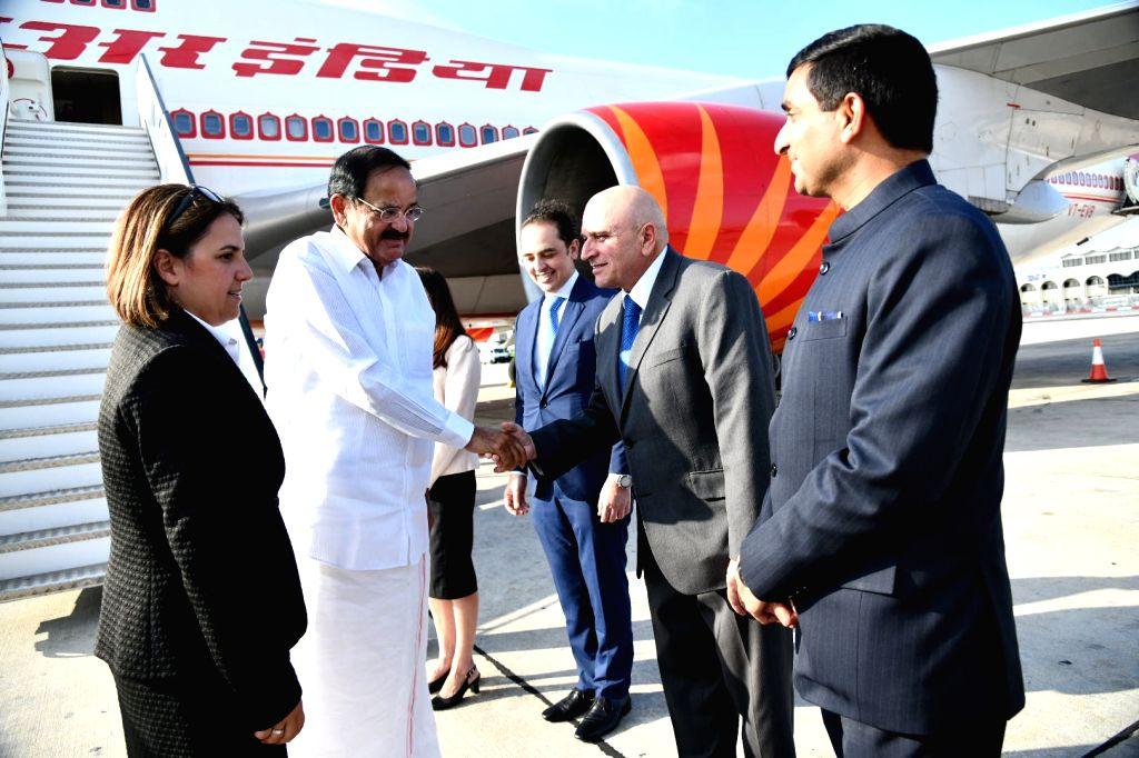 Vice President M. Venkaiah Naidu arrives in Luqa, Malta, on Sept 16, 2018. - M. Venkaiah Naidu