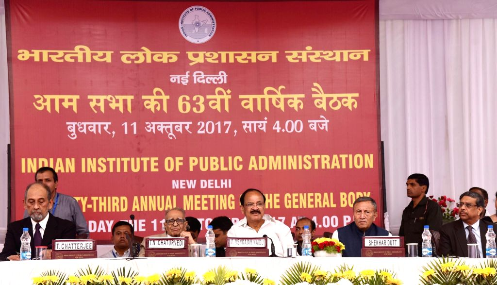 Vice President M. Venkaiah Naidu at the 63rd Annual General Meeting of Indian Institute of Public Administration (IIPA) in New Delhi on Oct 11, 2017. - M. Venkaiah Naidu
