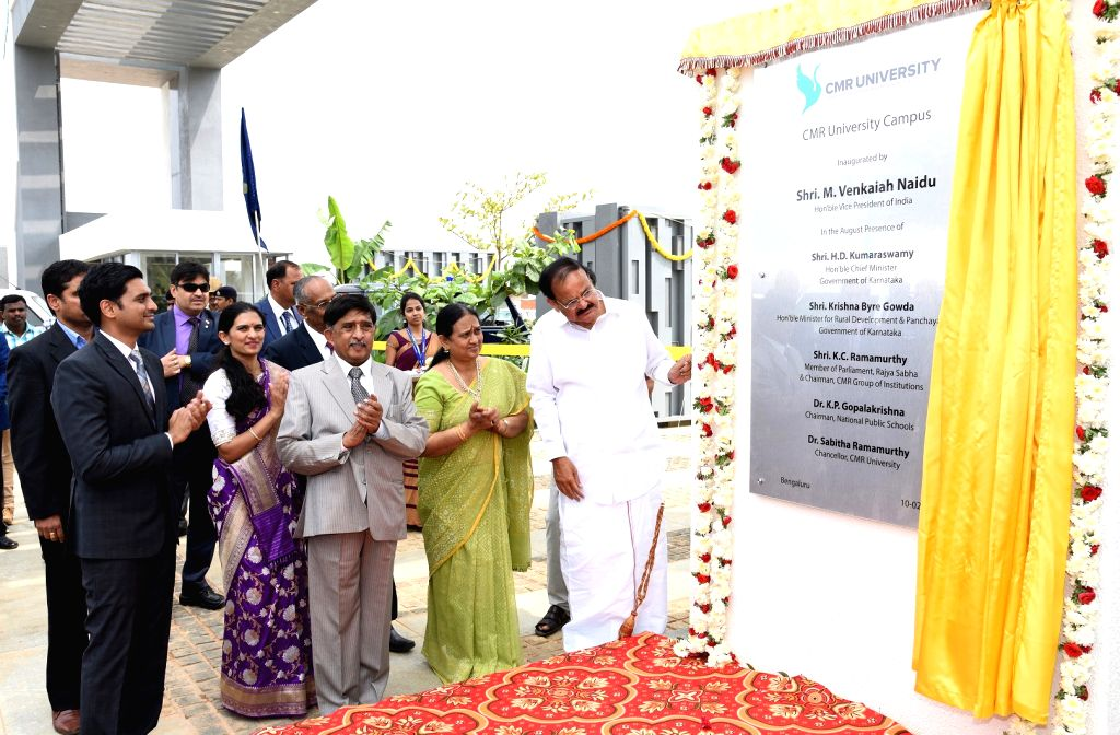 Vice President M. Venkaiah Naidu at the inauguration function of CMR University Campus, in Bengaluru on February 10, 2019. - M. Venkaiah Naidu