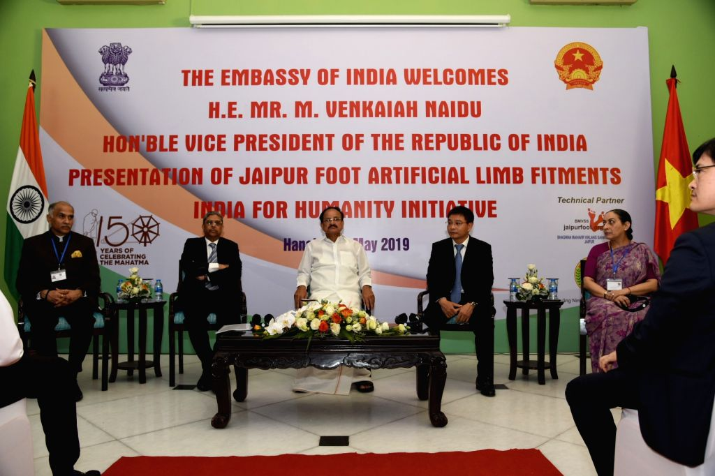 Vice President M. Venkaiah Naidu at the presentation ceremony of Jaipur Foot Artificial Limb Fitments under the 'India for Humanity' programme to commemorate 150 years of Mahatma Gandhi at Ho ... - M. Venkaiah Naidu
