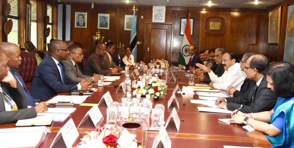 Vice President M. Venkaiah Naidu at the delegation level talks with the Vice President and the Acting President of Botswana Slumber Tsogwane, at the Office of the President of Botswana, in ... - M. Venkaiah Naidu