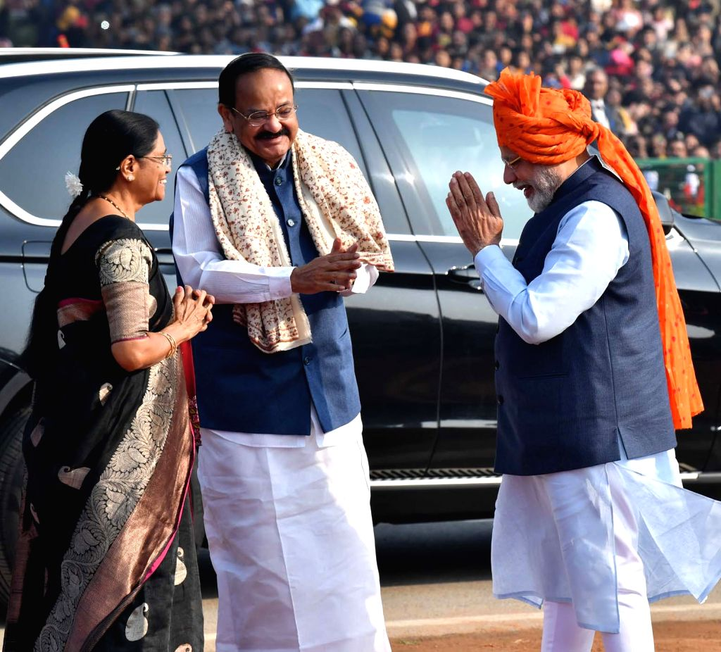 Vice President M. Venkaiah Naidu being received by Prime Minister Narendra Modi at the 71st Republic Day celebrations at Rajpath, in New Delhi on Jan 26, 2020. - Narendra Modi and M. Venkaiah Naidu