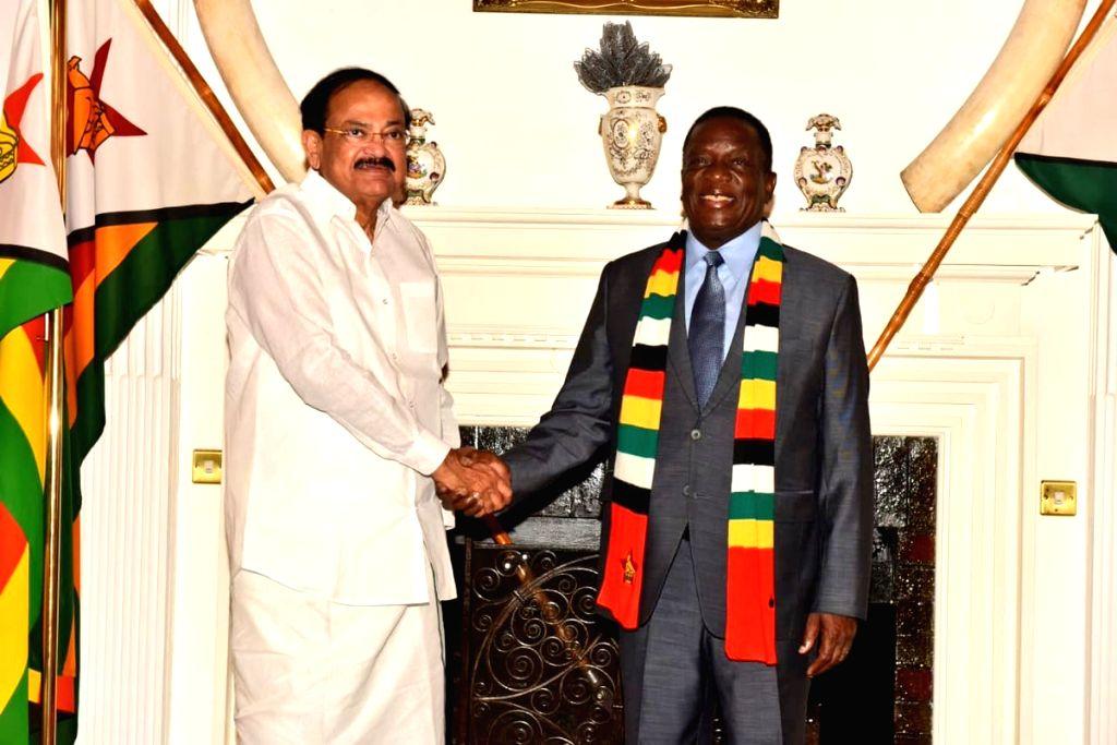Vice President M. Venkaiah Naidu calls on Zimbabwe's President Emmerson Mnangagwa in Harare, Zimbabwe on Nov 3, 2018. - M. Venkaiah Naidu