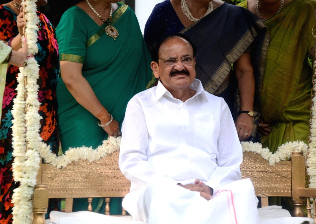 Vice President M Venkaiah Naidu celebrates Teej festival in New Delhi on Aug 11, 2018. - M Venkaiah Naidu