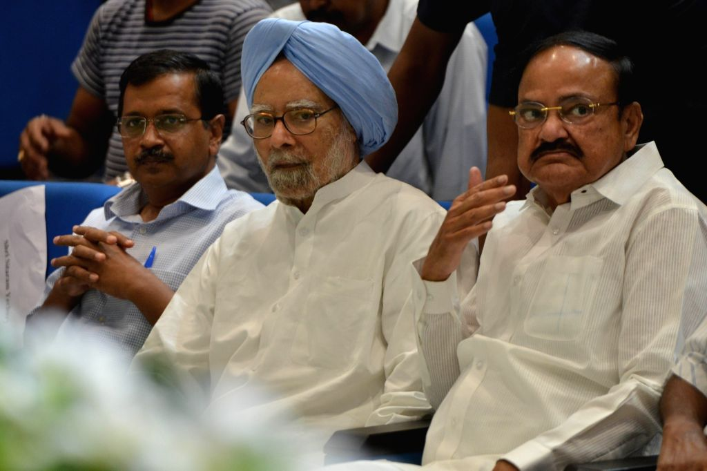 Vice President M Venkaiah Naidu, Delhi Chief Minister Arvind Kejriwal and Former Prime Minister Manmohan Singh during a condolence prayer meet organised in memory of former Union Minister ... - Arvind Kejriwal, M Venkaiah Naidu, Manmohan Singh and S. Jaipal Reddy