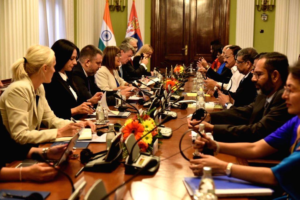 Vice President M. Venkaiah Naidu during a meeting with Speaker of the National Assembly of Serbia, Maja Gojkovic in Belgrade, Serbia on Sept 15, 2018. - M. Venkaiah Naidu