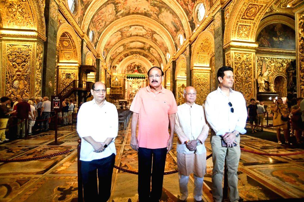 Vice President M. Venkaiah Naidu during his visit to Saint John's Co-Cathedral in Malta's Valletta on Sept 18, 2018. - M. Venkaiah Naidu
