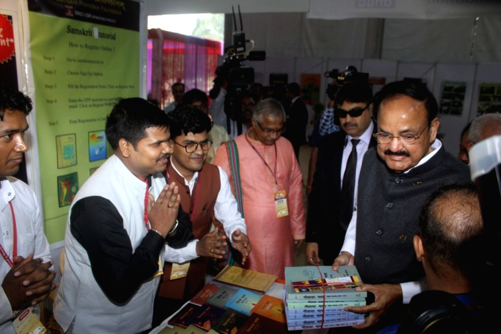 Vice President M. Venkaiah Naidu during the World conference organized by Sanskrit Bharti for according second language status to Sanskrit in the state in New Delhi on Nov 10, 2019. - M. Venkaiah Naidu