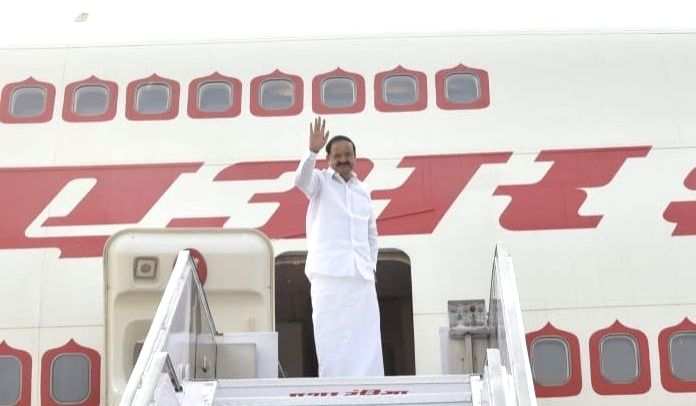 Vice President M. Venkaiah Naidu emplanes for his first three-nation African tour to Botswana, Zimbabwe and Malawi from New Delhi on Oct 31, 2018. - M. Venkaiah Naidu