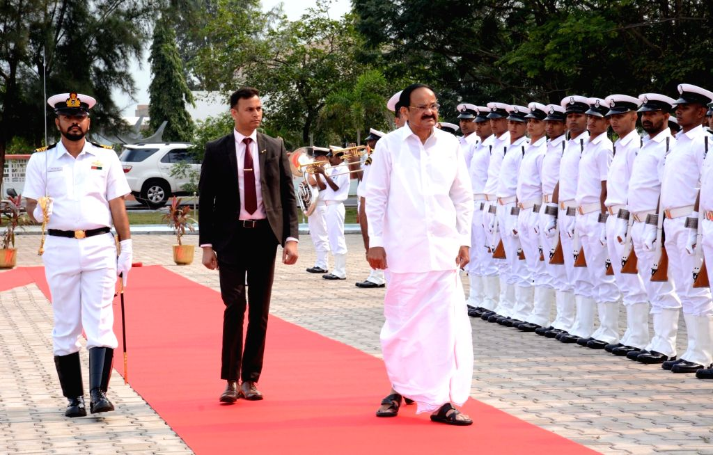 Vice President M. Venkaiah Naidu inspects the Guard of Honour at INS Dega during his visit to the Eastern Naval Command in Visakhapatnam on Feb 8, 2020. - M. Venkaiah Naidu