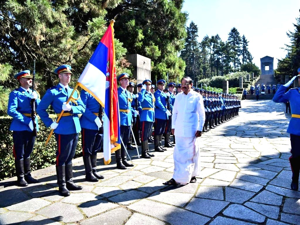 Vice President M. Venkaiah Naidu lays wreath at the 'Monument to the Unknown Hero' during his visit to Mt. Avala in Belgrade, Serbia on Sept 16, 2018. - M. Venkaiah Naidu