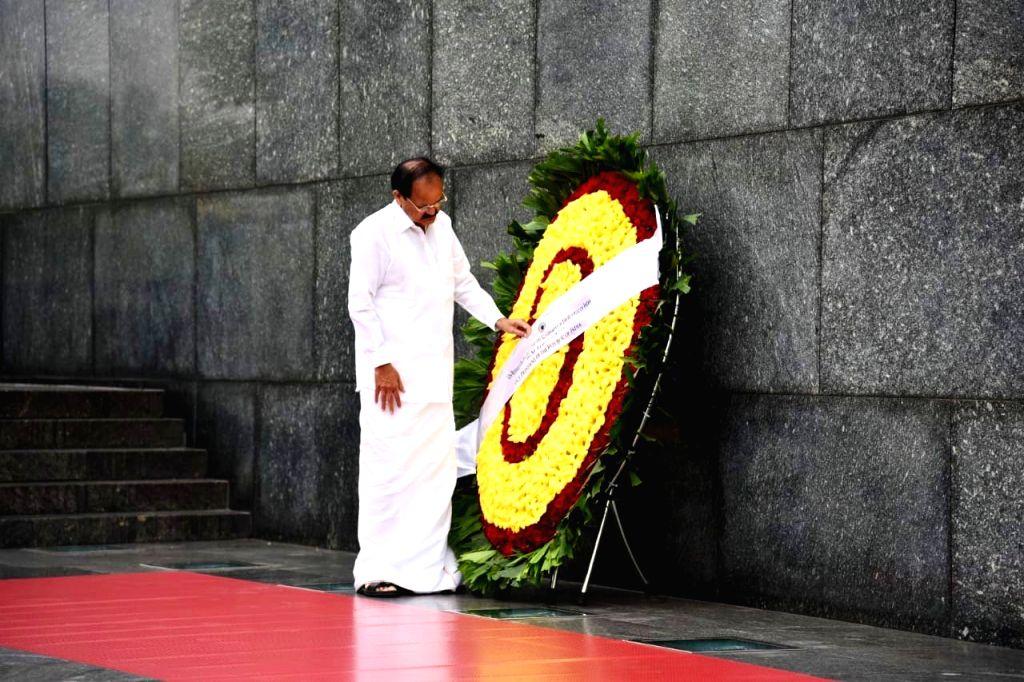Vice President M. Venkaiah Naidu lays wreath at the Ho Chi Minh Mausoleum in Hanoi, Vietnam on May 11, 2019. - M. Venkaiah Naidu