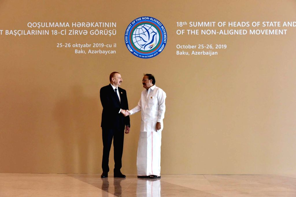 Vice President M. Venkaiah Naidu meets Azerbaijan President Ilham Aliyev during NAM Summit 2019, in Baku on Oct 25, 2019. - M. Venkaiah Naidu
