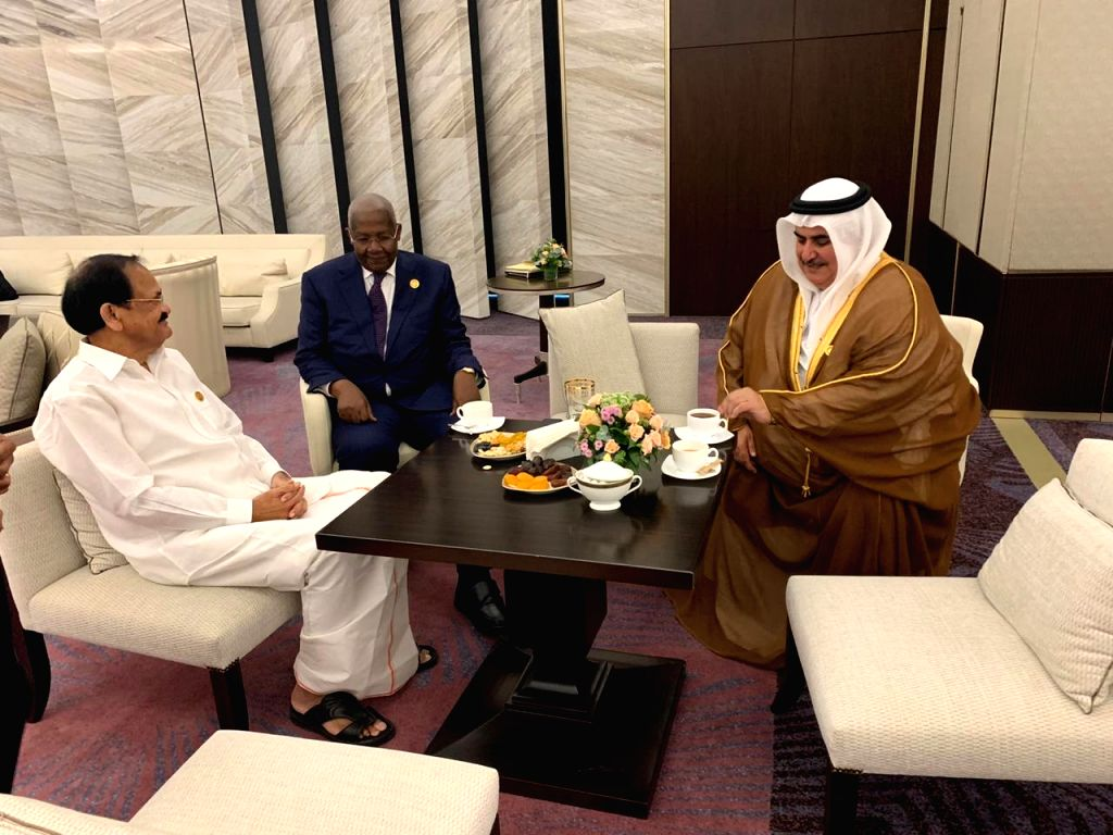 Vice President M. Venkaiah Naidu meets Bahrain's Foreign Minister Khalid bin Ahmed Al Khalifa on the sidelines of NAM Summit 2019 in Baku, Azerbaijan on Oct 25, 2019. - Khalid and M. Venkaiah Naidu