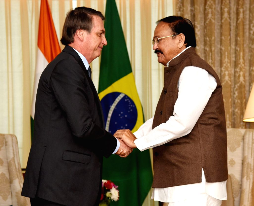 Vice President M. Venkaiah Naidu meets Brazilian President Jair Messias Bolsonaro, in New Delhi on Jan 25, 2020. - M. Venkaiah Naidu