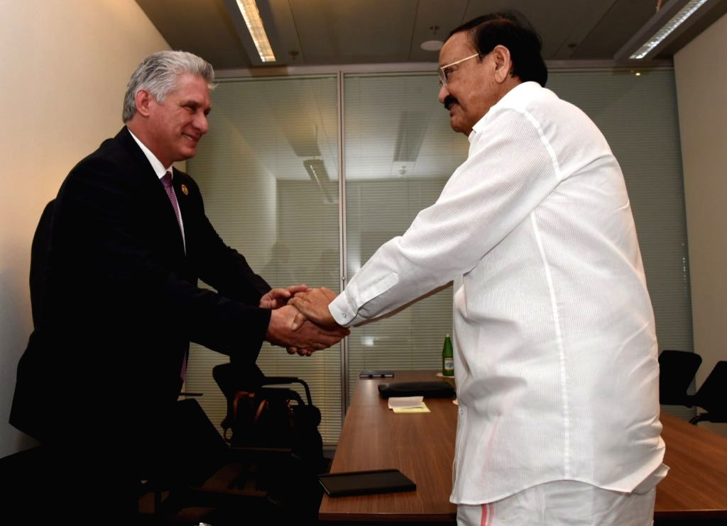 Vice President M. Venkaiah Naidu meets Cuban President Miguel D??az-Canel on the sidelines of NAM Summit 2019 in Baku, Azerbaijan on Oct 25, 2019. - M. Venkaiah Naidu