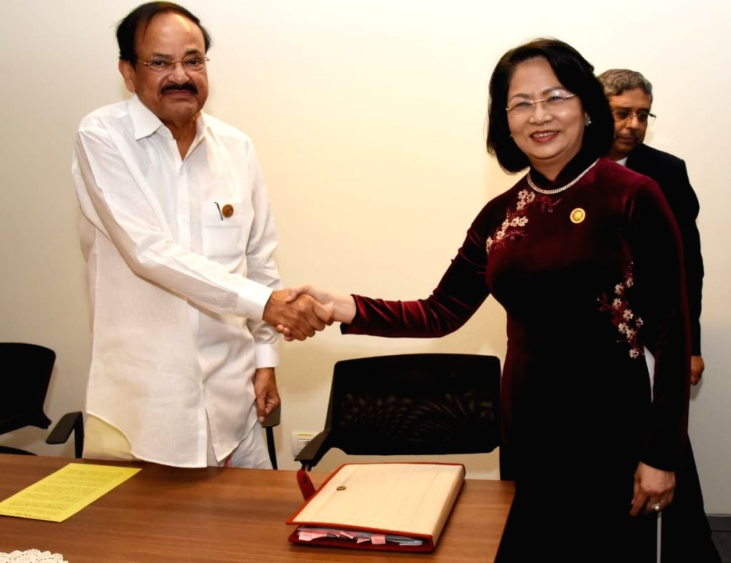 Vice President M. Venkaiah Naidu meets his Vietnamese counterpart Dang Thi Ngoc Thinh on the sidelines of NAM Summit 2019 in Baku, Azerbaijan on Oct 25, 2019. - M. Venkaiah Naidu
