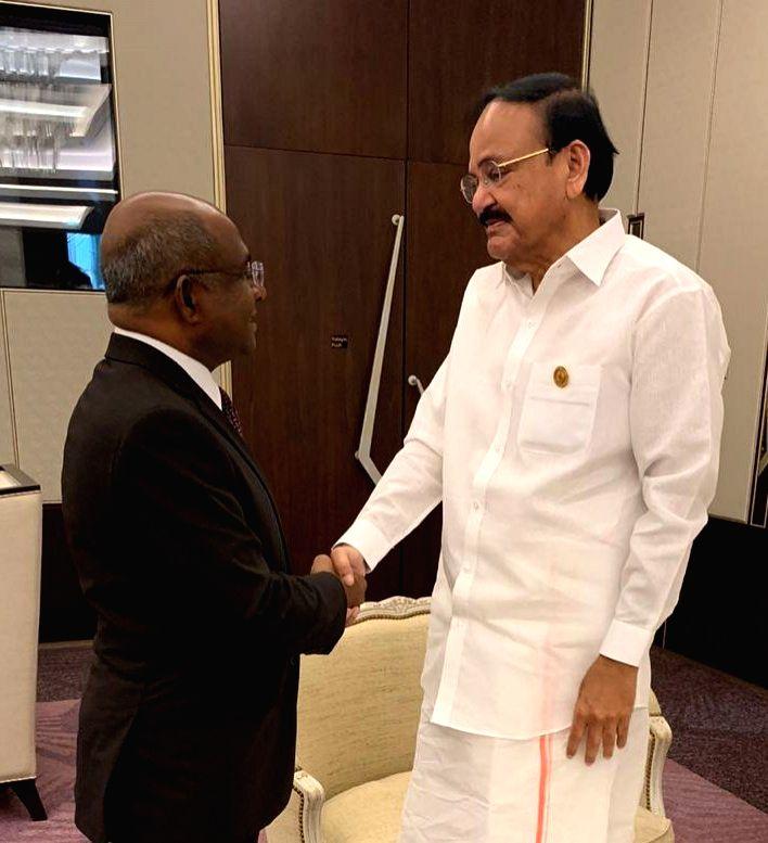 Vice President M. Venkaiah Naidu meets Maldives Foreign Minister Abdulla Shahid on the sidelines of NAM Summit 2019 in Baku, Azerbaijan on Oct 25, 2019. - Abdulla Shahid and M. Venkaiah Naidu