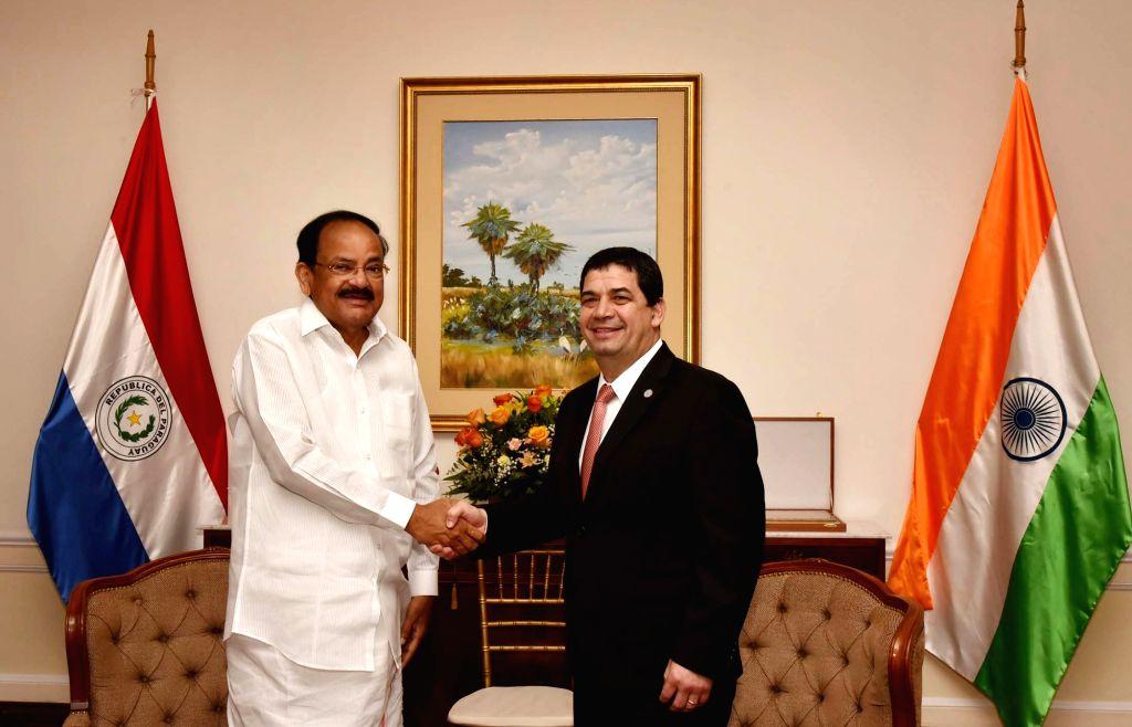 Vice President M. Venkaiah Naidu meets Paraguay Vice President Hugo Velazquez, in Asuncion, Paraguay, on March 6, 2019. - M. Venkaiah Naidu