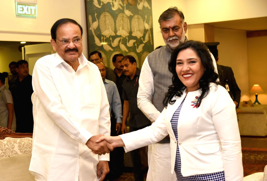Vice President M. Venkaiah Naidu meets Paraguay Tourism Minister Sofia Montiel De Afara, on the sidelines of the World Tourism Day celebrations, in New Delhi on Sep 27, 2019. Also seen ... - Sofia Montiel D, M. Venkaiah Naidu and Prahlad Singh Patel
