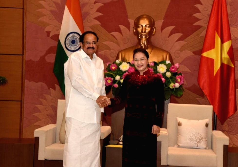 Vice President M. Venkaiah Naidu meets the Chairperson of the National Assembly of Vietnam Nguyen Kim Thi Ngan, at the National Assembly in Hanoi, Vietnam on May 10, 2019. - M. Venkaiah Naidu
