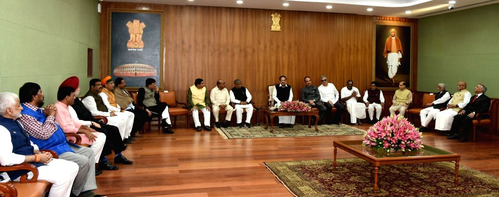 Vice President M Venkaiah Naidu meets the floor leaders ahead of the landmark 250th session of Rajya Sabha, in New Delhi on Nov. 17, 2019. - M Venkaiah Naidu