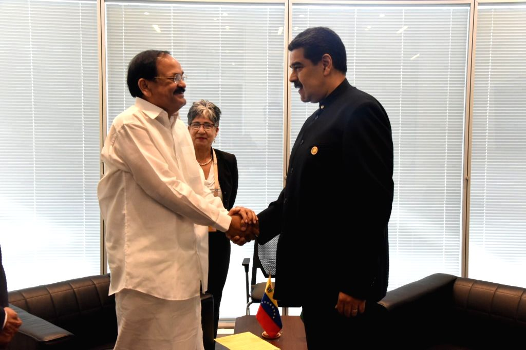 Vice President M. Venkaiah Naidu meets Venezuelan President Nicolas Maduro on the sidelines of NAM Summit 2019 in Baku, Azerbaijan on Oct 26, 2019. - M. Venkaiah Naidu