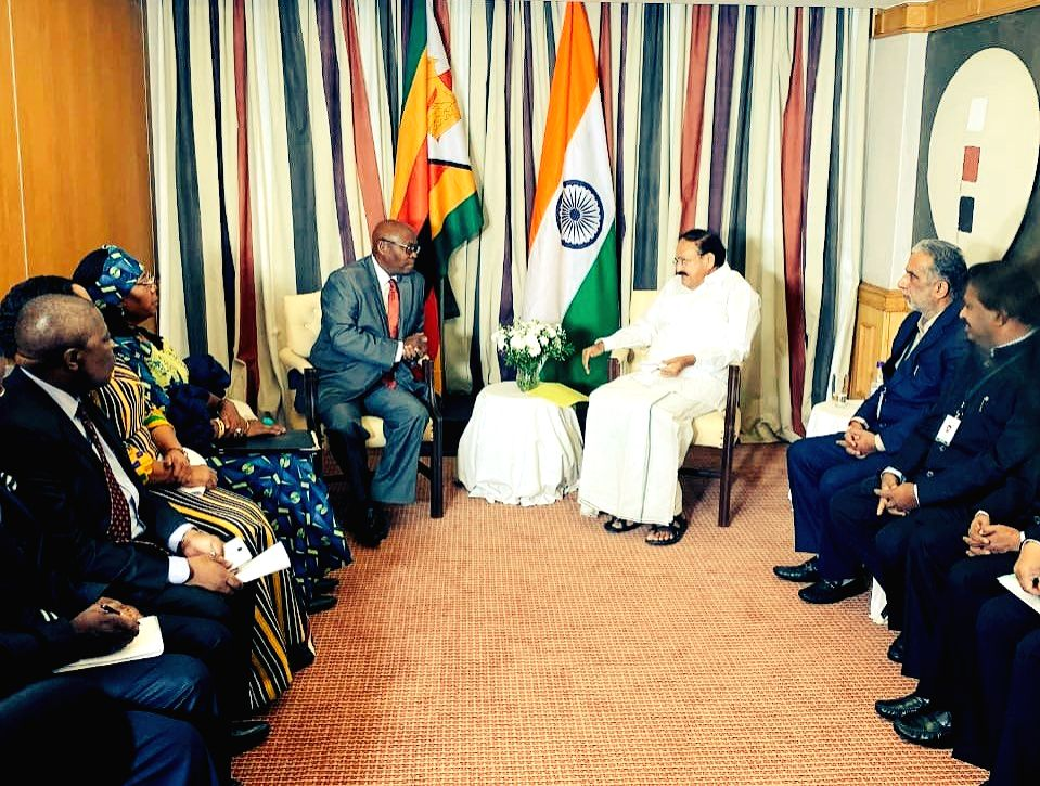 Vice President M. Venkaiah Naidu meets Zimbabwe's Acting Foreign Minister in Harare, Zimbabwe on Nov 3, 2018. - M. Venkaiah Naidu