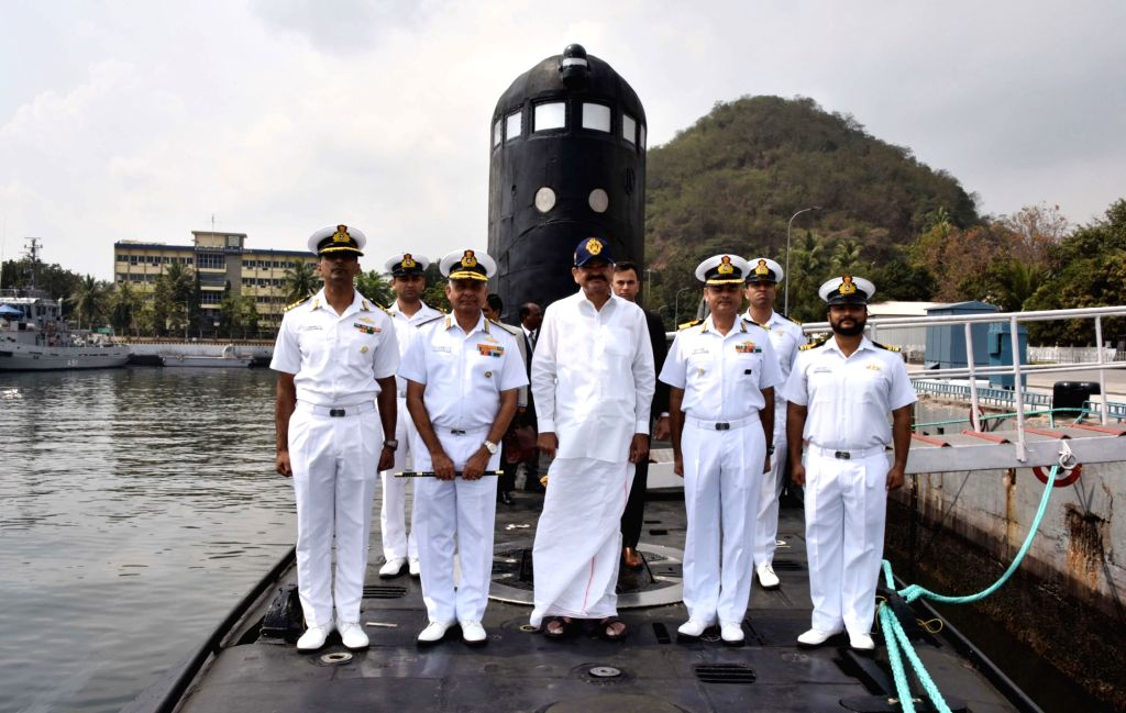 Vice President M. Venkaiah Naidu onboard the submarine INS Sindhurashtra during his visit to the Eastern Naval Command in Visakhapatnam on Feb 8, 2020. - M. Venkaiah Naidu