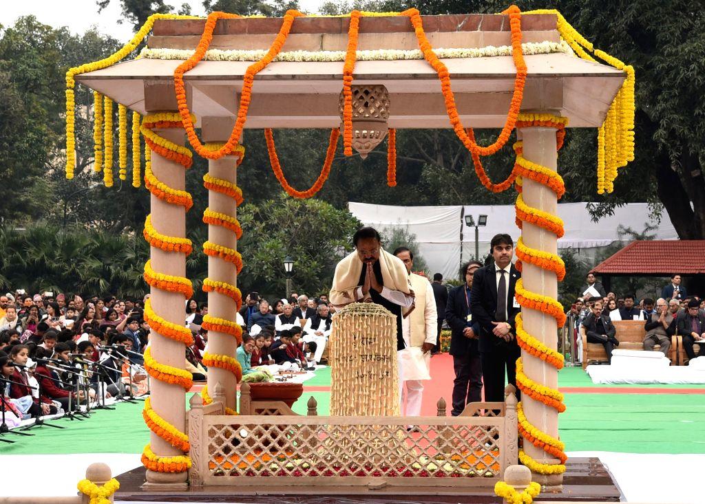 Vice President M. Venkaiah Naidu pays homage at Gandhi Smriti on the occasion of the Martyrs' Day in New Delhi, on Jan 30, 2019. - M. Venkaiah Naidu