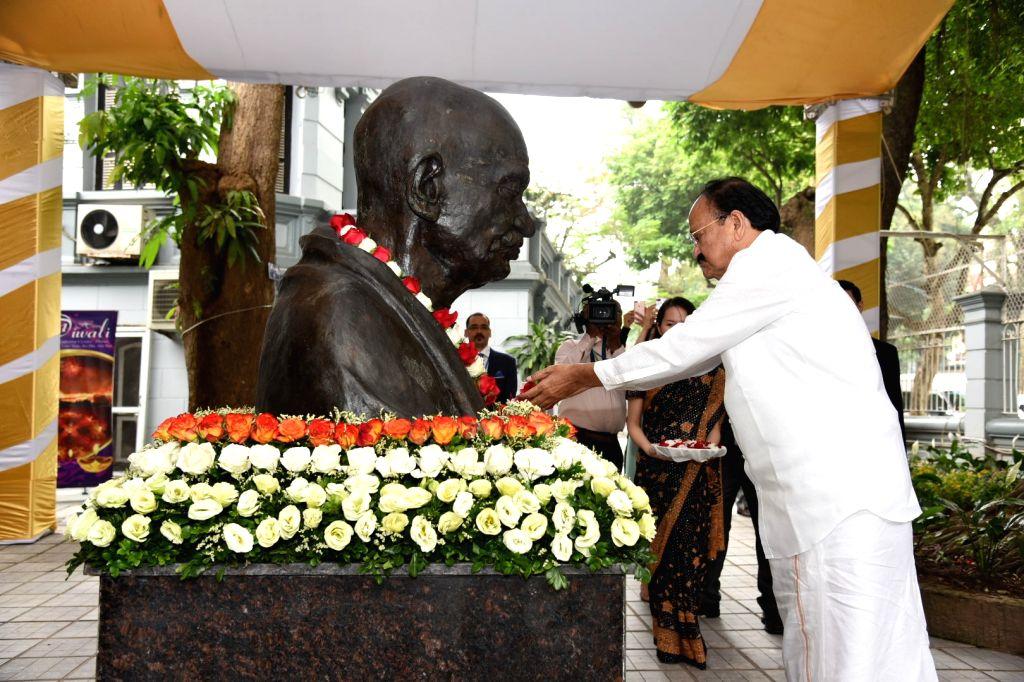 Vice President M. Venkaiah Naidu pays tributes to Mahatma Gandhi in Hanoi, Vietnam on May 11, 2019. - M. Venkaiah Naidu