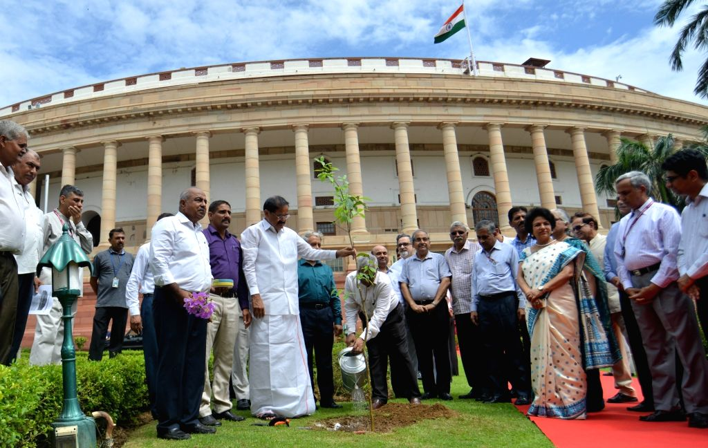 Vice President M. Venkaiah Naidu plants a tree at Parliament premises on his completion of two years in office, in New Delhi on Aug 9, 2019. - M. Venkaiah Naidu