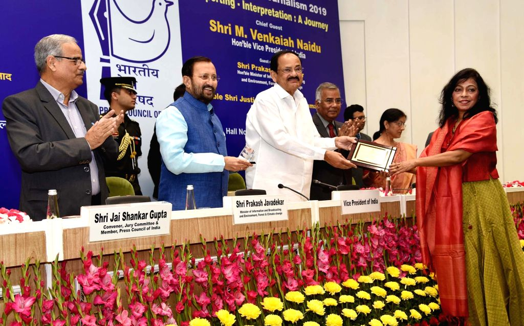 Vice President M. Venkaiah Naidu presents awards to the winners of ???National Awards for Excellence in Journalism 2019??? on the occasion of National Press Day in New Delhi on 16 Nov, ... - Prakash Javadekar and M. Venkaiah Naidu